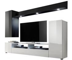 trendteam DS94502 Wohnwand Anbauwand Wohnzimmerschrank schwarz, weiß Nachbildung und Front in schwarz, weiß Hochglanz, BxHxT 208x165x33 cm