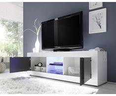 TV Schrank Basic 2-türig, 181 x 56 x 43 cm, weiß hochglanz