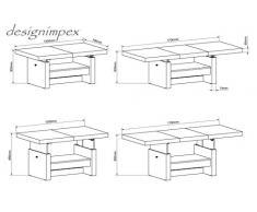 Design Couchtisch H-111 Schwarz Hochglanz Highgloss höhenverstellbar ausziehbar Tisch