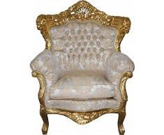 Casa Padrino Barock Sessel King Mod 2 Creme/ Gold Muster /Gold mit Bling Bling Glitzersteinen- Möbel Antik Stil