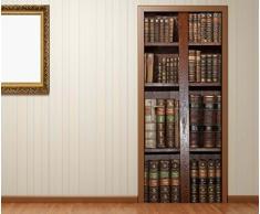 Türaufkleber alte Bücher Buch Regal antik Bibliothek Tür Bild Türposter Türfolie Türtapete Poster Aufkleber 15A023, Türgrösse:90cmx200cm