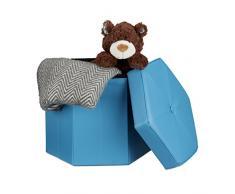 Relaxdays Faltbarer Sitzhocker sechseckig mit Stauraum und Deckel zum Abnehmen HBT: 38 x 42 x 42 cm Sitzwürfel aus Kunstleder Hocker zum Falten und Verstauen Sitzbank und Sitzgelegenheit, blau