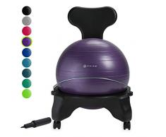 gaiam Classic Balance Ball Chair - Exercise Stability Yoga Ball Premium Ergonomic Chair for Home and Office Desk with Air Pump, Exercise Guide and Satisfaction Guarantee