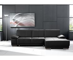 CAVADORE Schlafsofa Corianne in echtem Leder / Eckcouch mit Bettfunktion und beidseitiger Armteilverstellung / 282 x 80 x 162 / Echtleder, schwarz