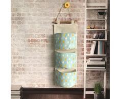Inwagui Hängeorganizer Hängende Kombination mit 3 Tasche Wand Tür Wandschrank Speicher Beutel Baumwolltuch Hängeaufbewahrung - Regentropfen A