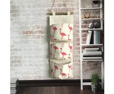 Inwagui Hängeorganizer Hängende Kombination mit 3 Tasche Wand Tür Wandschrank Speicher Beutel Baumwolltuch Hängeaufbewahrung - Flamingo A