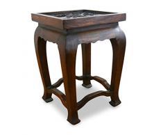 livasia Hoher, dunkelbrauner Opiumtisch, mit Elefantenschnitzerei, Nachttisch, Beistelltisch, Sofatisch