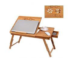 Nakey Klappbarer Laptoptisch, Bambus 100% höhenverstellbarer Notebooktisch mit Lüftungslöcher, Betttisch für Lesen oder Frühstücks, Zeichentisch und Esstisch für Bett 55 x (22.8-31) x 35 cm