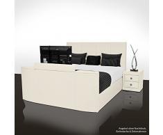 SONDERAKTION! bellvita GELBETT mit ECHTLEDER-Bettrahmen und versenkbarem Flat-TV inkl. Lieferung & Aufbau durch Fachpersonal, 180cm x 200cm (ivory)