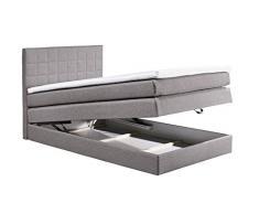 Boxspringbett 120x200 mit Bettkasten, Farbe: Grau, inkl Komfortschaum Topper, Matratze: 4-Gang-Bonell-Federkern Matratze, Bett von Möbel-BOXX