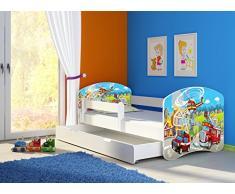 Clamaro Fantasia Weiß 180 x 80 Kinderbett Set inkl. Matratze, Lattenrost und mit Bettkasten Schublade, mit verstellbarem Rausfallschutz und Kantenschutzleisten, Design: 37 Feuerwehr