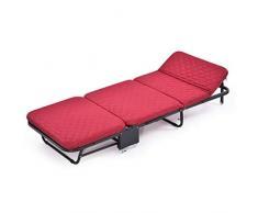 Ppy778 Klappbett Einzelbett Büro-Nickerchenbett Einfache Doppel-Schwamm-Bett Startseite Dreifachgefaltetes Bett Tragbares Schlafsofa Gästebett (Color : RED, Size : 180 * 75 * 26CM)