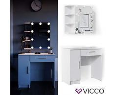 Vicco Schminktisch Fynnia Frisiertisch Kommode Frisierkommode Spiegel Weiß inklusive LED-Lichterkette