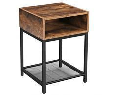 VASAGLE Nachttisch, Beistelltisch mit offenem Fach und Gitterablage, Wohnzimmer, Schlafzimmer, einfacher Aufbau, platzsparend, Industrie-Design, Vintage, dunkelbraun LET46X
