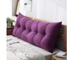 MWPO Rückenkissen, Doppelschlafsofa, Home-Office-Ständer, weiche Tasche für Lesetasche in der Taille, waschbar in 4 Farben, 6 Größen (Farbe: lila, Größe: 80 cm)