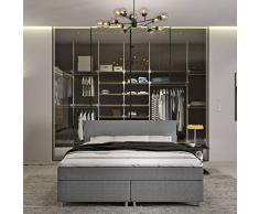 INNOCENT® - P4 | Boxspringbett 180x200 in Grau Stoff | 3D-Air 6cm Topper | Bonell-Federkernmatratze | H2 Härtegrad | Boxbett für Hotels | HB00