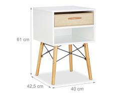 Relaxdays Nachttisch, Weiß, One Size