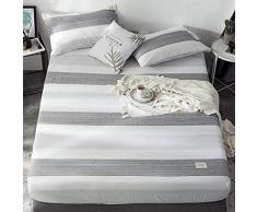 GUANLIDE Bettlaken,Spannbetttücher, flaches Stück Baumwolle, Matratzenbezug für Schlafzimmertextilien vertiefenWeiße und graue Streifen_100 * 200cm