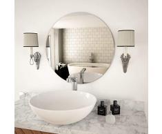Festnight- Wandspiegel Rund Wohnzimmer | Glas Badspiegel | Schlafzimmer Spiegel mit Schrauben | 40/50/60/70 cm