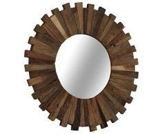 Festnight- Spiegel mit Rahmen | Wohnzimmer Wandspiegel | Vintage Badspiegel | Antik Schlafzimmer Spiegel | Retro Spiegel Flur | Bahnschwellen-Holz Recycelt Massiv 50/70 cm