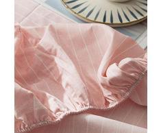 GUANLIDE Betttuch,Spannbetttücher, flaches Stück Baumwolle, Matratzenbezug für Schlafzimmertextilien vertiefenRosa Streifen_180 * 200cm