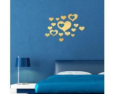 WINOMO Abnehmbare Spiegel Wandtattoos Herz Wandaufkleber Spiegelfliesen 3D Wandspiegel Aufkleber Schlafzimmer Wohnzimmer Bad Wanddeko (Gold)
