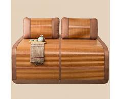 HAIPENG Sommer Schlafen Matte Kalt Bett Bambus Matte (mit 2 Kissenbezüge) Beidseitig Doppelbett Zusammenklappbar, 1,5m Bett (größe : 1.5m)