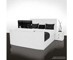 SONDERAKTION! bellvita GELBETT mit ECHTLEDER-Bettrahmen und versenkbarem Flat-TV inkl. Lieferung & Aufbau durch Fachpersonal, 180cm x 200cm (weiß)