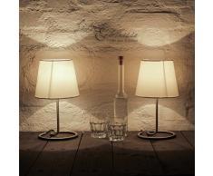 Dekorative Nachttischlampe im praktischem 2er Set mit Stoffschirm in weiß & Metallfuß Tischleuchte Tischlampen Tischleuchten Nachttischleuchten Lampen