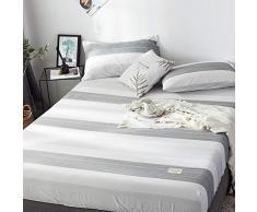GUANLIDE Spannbettlaken Baumwolle,Spannbetttücher, flaches Stück Baumwolle, Matratzenbezug für Schlafzimmertextilien vertiefenWeiße und graue Streifen_180 * 200cm