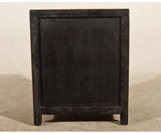 OPIUM OUTLET Nachtkästchen Nachtkommode Schlafzimmer Kommode Vintage antik Holz rot orange schwarz