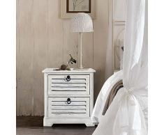 Rebecca Mobili aufgebaute Kommode in Weiß, Schubladenkommode mit 2 Schubladen, Paulownienholz, im Vintage-Stil Shabby Chic, für Schlafzimmer Bad - Maße: 45 x 42 x 29 (HxLxB) - Art. RE4571