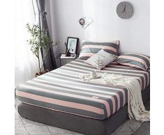 GUANLIDE Baumwolle Spannbetttuch,Spannbetttücher, flaches Stück Baumwolle, Matratzenschoner für Schlafzimmertextilien vertiefenGrauer Streifen_135 * 200cm