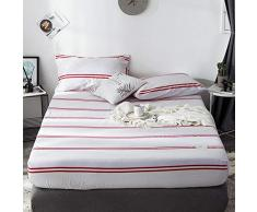 GUANLIDE spannbettlaken Topper,Spannbetttücher, flaches Stück Baumwolle, Matratzenbezug für Schlafzimmertextilien vertiefenWeißrote Streifen_180 * 200cm