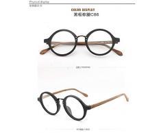 Liutao Sonnenbrillen Runder Rahmen Holzrahmen Gläser Retro-Tellerrahmen Mode for Männer und Frauen Handgefertigte Flache leichte Gläser Sonnenbrillen für Herren (Color : Black Frame Brown Legs)