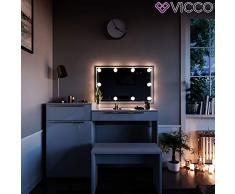 Vicco Schminktisch Little Lilli Frisiertisch Kommode Frisierkommode Spiegel Weiß inklusive Bank und LED-Lichterkette