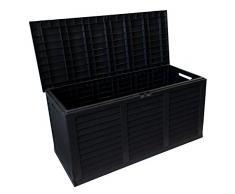 Kunststoff Auflagenbox rollbar 380 Liter, 116,5x51,5xH57,5cm, Anthrazit, Gartenbox Gartentruhe Kissenbox für Polsterauflagen