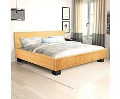 vidaXL Rattan Bett Doppelbett Ehebett Geflecht Holzbett Mahagoni Handarbeit 140x200cm