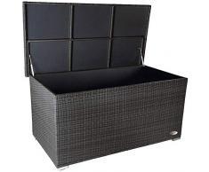 PREMIUM Venezia 950 L Polyrattan Garten Kissenbox wetterfest (regnet nicht rein) 146 x 83 x 80 cm, Auflagenbox mit verstärktem Deckel und Gasdruckfedern, auch als Tischplatte geeignet, Silber