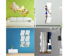 Keptei DIY Spiegel Wand Aufkleber Selbstklebende Wandspiegel Home Decoration Wohnzimmer Schlafzimmer Square Aufkleber Tapeten