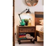 MÖBEL IDEAL Nachtkommode Kumasi Nachttisch aus Massivholz in Antik Braun Anrichte 55 x 48 cm