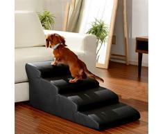 Pet Treppen Breite 19,7 Zoll Leichte Haustiertreppe mit Wasserdichtem Leder, 4 Step Arc Design Treppe für Hunde/Katzen, Bettsofa (Color : Black)
