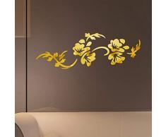 Aufkleber Innovative Wandwandaufkleber Acrylglasblumendekoration Hintergrund Abziehbilder Schlafzimmerspiegel förmige Wandaufkleber (Color : Dorado)