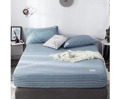 GUANLIDE bettlaken Baumwolle,Spannbetttücher, flaches Stück Baumwolle, Matratzenbezug für Schlafzimmertextilien vertiefenBlau und weiß gestreift_100 * 200cm