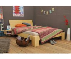 Bett 180x220cm Überlänge, Steckbett metallfrei, Bambus Bett SUVA mit Rückenlehne Hainan, Höhe 30cm