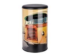 Wenko 21588100 Wäschetruhe Vintage Bus - Badhocker, Fassungsvermögen 54 L, Stahl, 35,5 x 60 x 35,5 cm, mehrfarbig