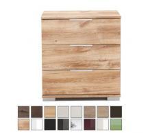 Nachtschrank NIGO auch für Boxspringbett geeignet ( Höhe 58 cm ), Nachtkommode, Holz (MDF) oder Glas, BxHxT: 52 x 58 x 38 cm, 3 Schubladen, Made in Germany, Plankeneiche 1 Stück