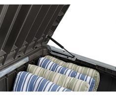 Koll Living Auflagenbox/Kissenbox 570 Liter l 100% Wasserdicht l mit Belüftung dadurch kein übler Geruch/Schimmel l Moderne Holzoptik l Deckel belastbar bis 250 KG (2 Personen) (Weiß)