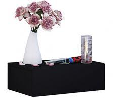 VCM Wand Nachttisch Wandschrank Tisch Nachtschrank Nachtkonsole Wandboard Regal schwarz 15 x 46 x 30 cm Dormas