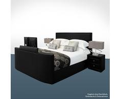 SONDERAKTION! bellvita GELBETT mit ECHTLEDER-Bettrahmen und versenkbarem Flat-TV inkl. Lieferung & Aufbau durch Fachpersonal, 180cm x 200cm (schwarz)